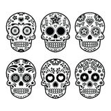 Mexican sugar skull, Dia de los Muertos icons set Stock Photos