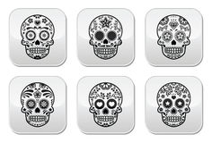 Mexican sugar skull, Dia de los Muertos icons set Stock Photography
