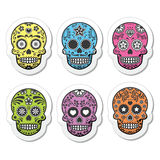 Mexican sugar skull, Dia de los Muertos icons set Stock Images