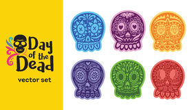 Mexican sugar skull. Dia de los Muertos set. Vector illustration Royalty Free Stock Photos