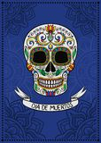 Mexican sugar skull with floral pattern, Dia de Muertos, design element for poster, greeting card vector Illustration. On a blue background Stock Photos