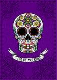 Mexican sugar skull with floral pattern, Dia de Muertos, design element for poster, greeting card vector Illustration vector illustration