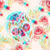 Mexican sugar skull among the flowers seamless pattern. Day of the dead holiday background with watercolor paper texture. Hand painted illustration with double Royalty Free Stock Images
