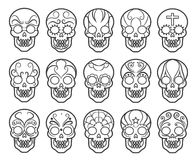 Mexican sugar skull icon set. Spooky day of the dead skulls vector icons for mexico carnival Royalty Free Stock Photos
