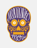 Mexican sugar skull with Memento Mori lettering Stock Photo