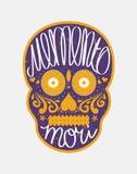 Mexican sugar skull with Memento Mori lettering Stock Photo