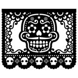 Mexican sugar skull paper decorations - Papel Picado black design for Halloween, Dia de Los Muertos, Day of the Dead. Cut out template with candy skull and
