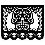 Mexican sugar skull paper decorations - Papel Picado black design for Halloween, Dia de Los Muertos, Day of the Dead Vector Illustration