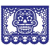 Mexican sugar skull paper decorations - Papel Picado design for Halloween, Dia de Los Muertos, Day of the Dead. Cut out template with candy skull and flowers