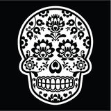 Mexican sugar skull - Polish folk art style on black Royalty Free Stock Photo