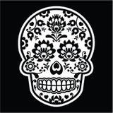 Mexican sugar skull - Polish folk art style on black Royalty Free Stock Photo