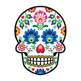 Mexican sugar skull - Polish folk art style - Wzory Lowickie, Wycinanka Stock Photo