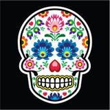 Mexican sugar skull - Polish folk art style - Wzory Lowickie, Wycinanka Royalty Free Stock Image