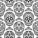 Mexican sugar skull  seamless pattern, Halloween candy skulls background, Day of the Dead celebration, Calavera design Royalty Free Stock Photo