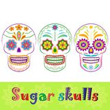 Mexican sugar skull vector collection. Colorful sugar skull collection. Dia de los Muertos, Day of the Dead set isolated on white. Could be used as icons or Stock Photo