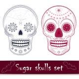 Mexican sugar skull vector illustration set. Day of the dead mexican sugar skull vector illustration set. Line art design elements Royalty Free Stock Photo