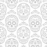 Mexican sugar skull vector seamless pattern, Halloween candy skulls background, Day of the Dead celebration, Calavera design Stock Image