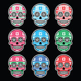 Mexican sugar skull with winter Nordic pattern on black Stock Images