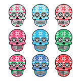 Mexican Sugar Skull With Winter Nordic Pattern Stock Images