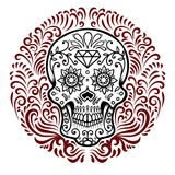 Mexican sugar skulls with circular floral pattern background. DAY OF THE DEAD. Design element for poster, greeting card, banner, t Vector Illustration