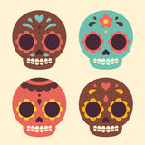 Mexican sugar skulls. Mexican Day of the Dead sugar skulls. Cute and modern flat vector illustration Royalty Free Stock Photography