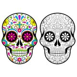 Mexican Sugar skulls, Day of the dead illustration on white background. Mexican holidays vector illustration