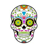Mexican Sugar skulls, Day of the dead vector illustration on white background stock illustration