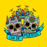 Mexican sugar skulls with floral pattern, Dia de Muertos, design element for poster, greeting card vector Illustration. On yellow background stock illustration