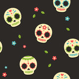 Mexican sugar skulls pattern Royalty Free Stock Images