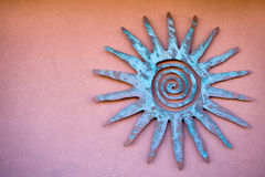 Mexican sun disc. Mexican ornament of sun disc on the wall Royalty Free Stock Photos