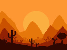 Mexican sunset landscape with silhouette of cactus Stock Photography