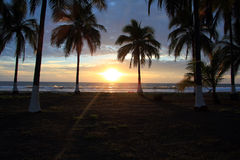Mexican Sunset. Sunset on the Pacific Ocean on Playa Las Tortugas, Mexico stock photos