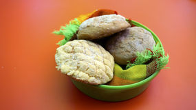 Mexican sweet bread in a little basket Stock Photos