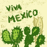 Mexican symbols cactus on grunge background Royalty Free Stock Images