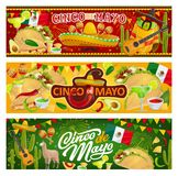 Mexican symbols and food, Cinco de Mayo holiday. Mexican holiday Cinco de Mayo, traditional Mexico 5th May fiesta party celebration. Vector Mexican food tacos stock illustration