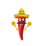 Mexican Symbols, Red Chili Pepper, Sombrero Hat, Musical Maracas, Mustache Stock Photos