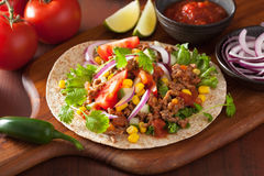 Mexican taco with beef tomato salsa onion corn Royalty Free Stock Photos