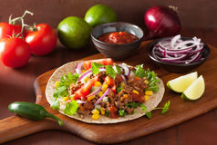 Mexican taco with beef tomato salsa onion corn Stock Images