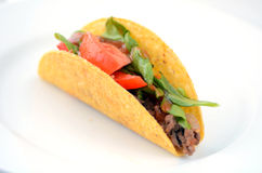 Mexican taco served on a white plate Stock Photo