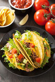 Mexican taco shells with beef and vegetables Royalty Free Stock Photos
