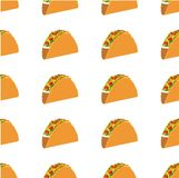 Mexican taco vector seamless pattern Royalty Free Stock Images