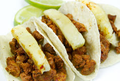 Mexican Tacos Al Pastor. Made with pork meat and seasoned with dried chili and adorned with pineapple slices and parsley. They are known in spanish as Tacos Al stock photography