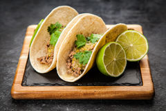 Mexican tacos with beef. And green salsa Stock Photos