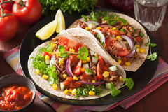 Mexican tacos with beef tomato salsa onion corn Stock Photo