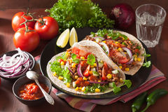Mexican tacos with beef tomato salsa onion corn Stock Image