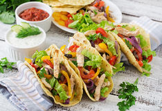 Mexican tacos with chicken, bell peppers, black beans Royalty Free Stock Photo