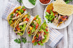 Mexican tacos with chicken, bell peppers, black beans Royalty Free Stock Image