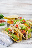 Mexican tacos with chicken, black beans and fresh vegetables Stock Photo