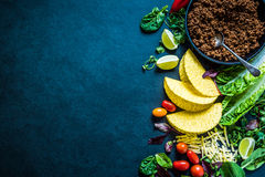 Mexican tacos, food border background recipe, overhead Royalty Free Stock Photos