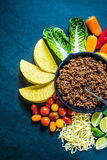 Mexican tacos, food border background recipe, overhead. Authentic traditional street food Royalty Free Stock Photos